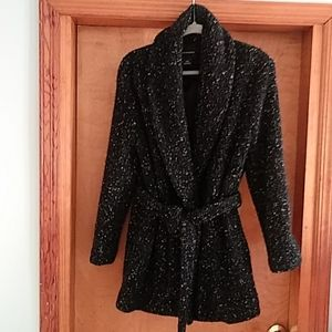 Shawl collared jacket in backed tweed with white f